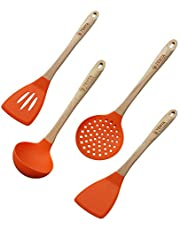Tenta Kitchen Silicone Slotted Skimmer Slotted Spoon Slotted Ladles Slotted Spatula Turner with Wooden Handle, Heat Resistant Cooking Utensils for Kitchen Cooking Utensils