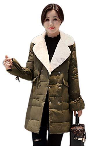 Ragazza Anteriori Qk lannister Grün Double Giaccone Caldo Manica Piumini Confortevole Breasted Cappotti Invernali Tasche Coat Bavero Lunga Donna Bendare r4rqzw