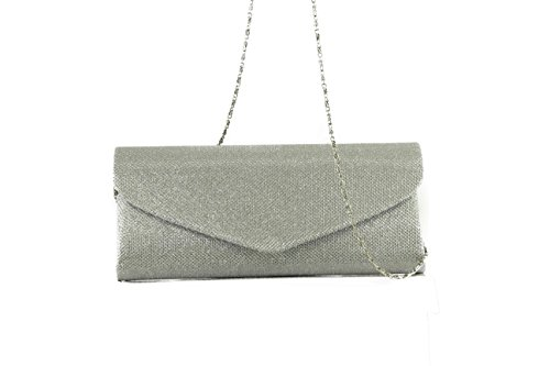 Anush Fashion - Cartera de mano de Satén para mujer plata