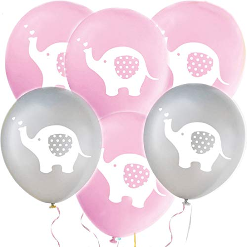 32 Pieces Elephant Party Balloons Birthday Girl Decorations Balloons Pink and Grey Elephant Latex Balloons for Kids Birthday Party Balloons, Baby Shower, Gender Reveal, Animal Themed Party Decorations (Pink & Grey)]()