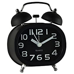Twin Bell 3 Alarm Clock, COOJA Quartz Analog Sweep Battery Clocks Non Ticking Silent with Nightlight and Loud Alarm, Black