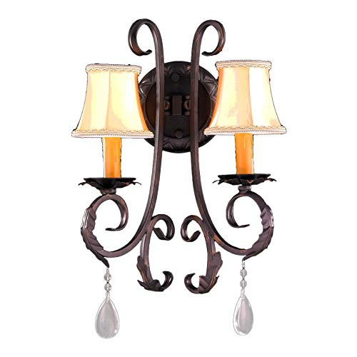 Worldwide Lighting Abigail Collection 2 Light Flemish Brass Finish Crystal Wall Sconce with Orange Gold Candle and Bell Shade 13