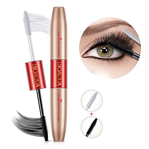 BONNIESTORE 3D Fiber Lash Mascara, Double Extend Natural Curling Waterproof Black Eyelash Extension Thick Lengthening Cosmetics (Loreal Double Lash Mascara)