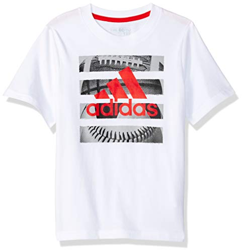 adidas Boys' Little Short Sleeve Graphic Tee Shirt, Hacked White, ()