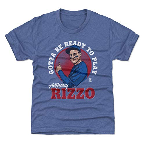 Ready Youth T-shirt - 500 LEVEL Chicago Cubs Youth Shirt - Kids Small (6-7Y) Tri Royal - Anthony Rizzo Ready to Play W WHT