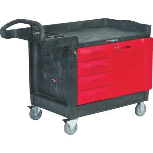 Rubbermaid Commercial Trademaster Wide 4 Drawer Mobile Work Center, 59'' L x 26'' W x 33'' H, Black/Red (FG454888BLA)