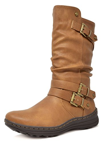 DREAM PAIRS Women's New Moscow Camel Faux Fur Lined Mid Calf Winter Snow Boots Size 8 B(M) - Fur Boots Winter Faux
