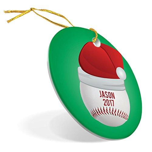 ChalkTalkSPORTS Personalized Baseball Porcelain Ornament   Santa Hat Christmas Ornament by ChalkTalkSPORTS (Image #1)