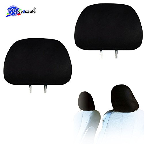 Yupbizauto 2X Cars Trucks & Cover DVD tv Monitors Solid Black Polyester Universal Headrest Covers with Foam Backing- Set of - Truck Covers Headrest