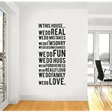 Jack-Store House Rules in This House We Do Real Family Rules Love Quotes Wall Decals Inspirational Bible Sayings Wall Stickers for Kids Playroom Study Room Stairway Sofa Decor(Family Quote)