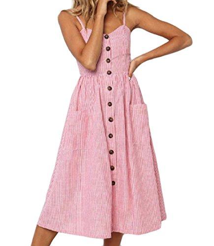 Coolred-femmes Une Ligne Occidentale Couleur Pure Boutonné Slip Confortable Robe Mi-longueur Rose