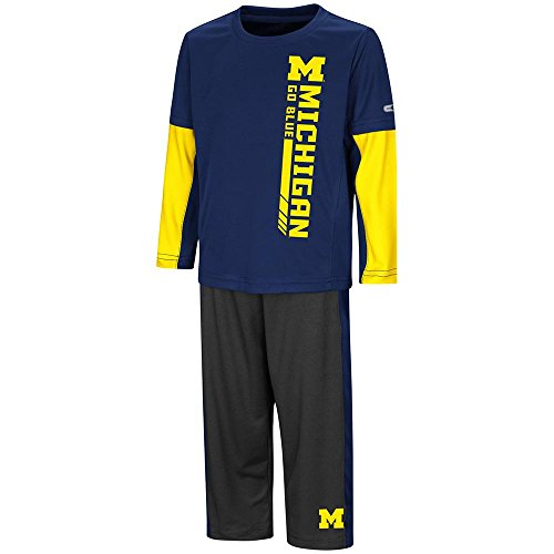 (Colosseum Toddler Michigan Wolverines Long Sleeve Tee Shirt and Sweatpants Set - 2T )