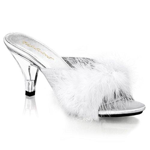 Pleaser BELLE-301F 8159 - Sandalias de vestir para mujer Wht Satin-Fur/Clr