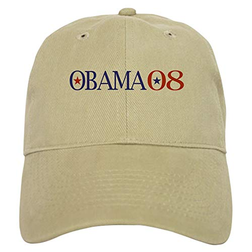 CafePress Obama 08 Baseball Cap with Adjustable Closure, Unique Printed Baseball Hat Khaki ()
