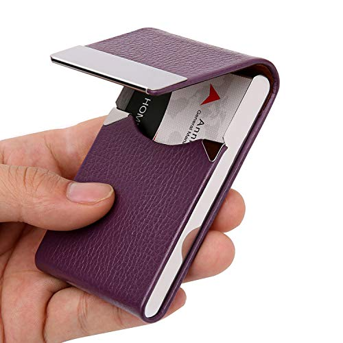 DMFLY Leather Business Card Holder for Women Leather Business Card Case Slim Professional Name Card Holder with Magnetic Shut, Purple (Woman Business Card Holder)