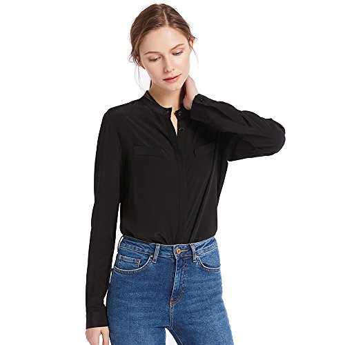 LilySilk Women's 100 Silk Blouse Stand Collar Long Sleeve Ladies Shirt 18 Momme Pure Silk Black Size L