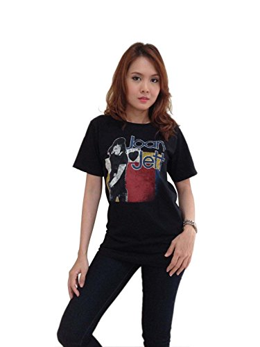 Bunny Brand Women's JOAN JETT BLACKHEARTS Rock Retro T-Shirt Black (Small)