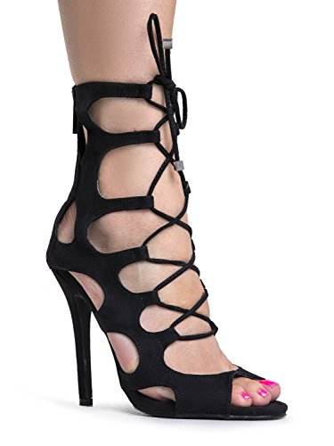 Lace Up Gladiator High Heel - Peep Toe Suede Shoe - Sexy Dress Cut Out Sandal Heel, Black, 11