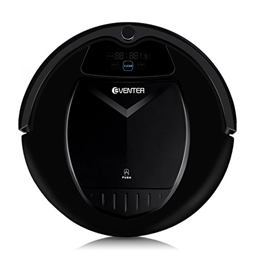 Eventer Robotic Vacuum Cleaner Home and Kitchen Cleaning Robot, Self-charging Scrubbing, Dust and Pet Hair Cleaner with High Suction for Hard Floor-Black