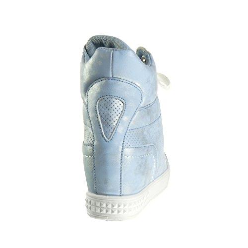 Angkorly Alti Sneaker Perforato Vintage Lucide Stile Zeppa Moda cm 6 Tacco Donna Blu Piattaforma Zeppe Scarpe Zeppa EIwx0qrzI