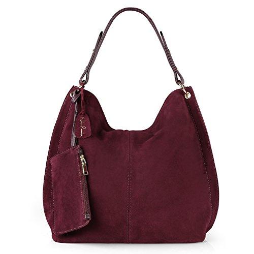 Suede Leather Hobo - Nico Louise Women Genuine Suede Leather Large Hobo Purse Shoulder Bag (Dark Purple)