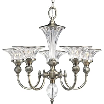Progress Lighting P4506-101 5-Light Roxbury Chandelier, Classic Silver
