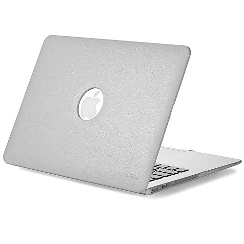 Kuzy - MacBook Air 13 inch Leather Hard Case for Older Version AIR 13-inch (A1466 & A1369) - Leatherette Cover - Gray