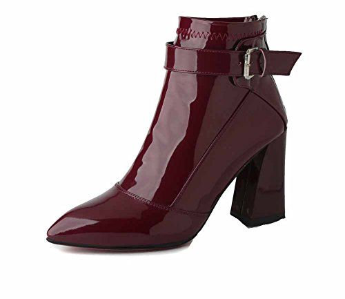 Allhqfashion Women's Solid PU High Heels Zipper Pointed Closed Toe Boots Claret pjdQhU