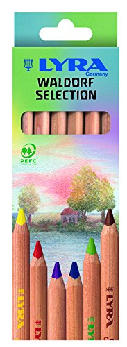 LYRA Waldorf Selection Unlacquered Triangular Giant Colored Pencils, Set of 6 Super Ferby (3711061)