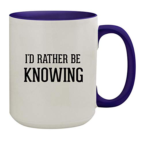 I'd Rather Be KNOWING - 15oz Colored Inner & Handle Ceramic Coffee Mug, Deep Purple