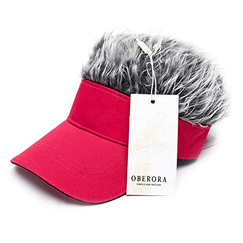 OBERORA Flair Hair Visor Sun Cap Wig Peaked Adjustable Baseball Hat with Spiked Hairs ()