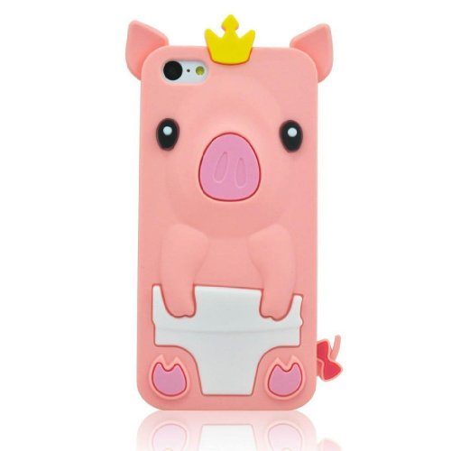 Pink 3D Pig Cartoon Animal Silicone Case Cover for Apple Iphone 5C(+Random Gift 2 PCS Cartoon - Tracking Epacket Uk