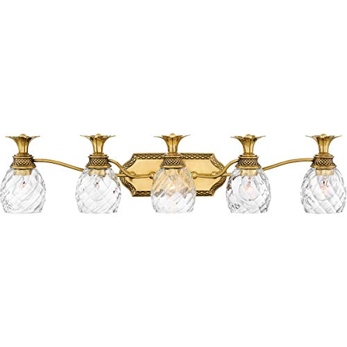 Bathroom Vanity 5 Light Fixtures with Burnished Brass Finish Steel Material Medium Bulb 37