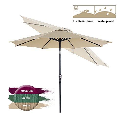 BaoChen 9Ft Outdoor Patio Umbrella - Table Umbrella with Push Button Tilt and Crank w/o Stand Backyard Market Garden Parasol, 8 Ribs,Tan