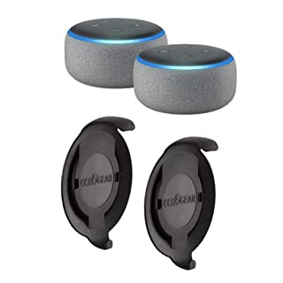 Echo Dot (3rd Gen) Heather Gray 2-Pack with 2 Made for Amazon Echo Dot Wall Mounts