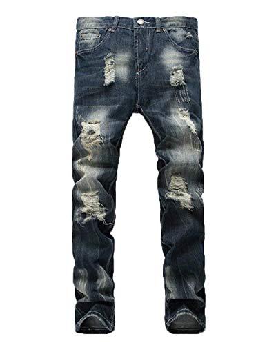 Lannister Fashion Pantalones De Denim De Los Hombres Denim Straight Skinny Destruidos Slim Denim Pants Vintage Cracked Holes Jeans Pantalones Casuales Dunkelblau