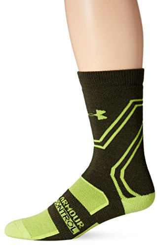 Under Armour Men's Scent Control Cushion Crew Socks, Rifle Green/Velocity Green, Large