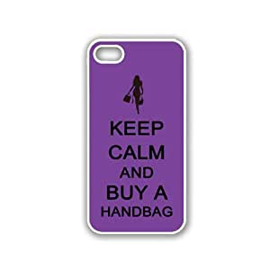 Keep Calm And Buy A Handbag - Purple - Protective Designer WHITE Case - Fits Apple iPhone 5 / 5S