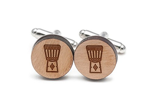 - Wooden Accessories Company Djembe Drum Cufflinks, Wood Cufflinks Hand Made in The USA