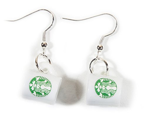 Logo Ceramic - ARThouse Coffee Lover, Tiny Starbucks Coffee Cup Earrings on French Wires