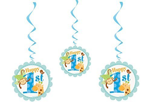 Blue Safari Boys 1st Birthday Party Hanging Swirl Decorations X 3 by Blue Safari