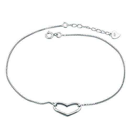 Casa De Novia Jewelry 925 Sterling Silver Heart Beach Bracelet Ankle for Women Girls Bracelets Anklet Adjustable (Heart Love) by Casa De Novia Jewelry (Image #3)