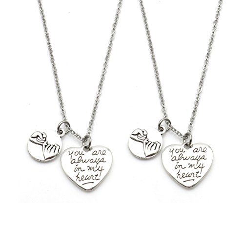 Price comparison product image 2 Pcs Pinky Promise Pinky Swear You Are Always in My Heart Necklace Sisters Necklace BFF Gift(Necklace)