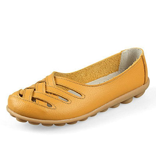 Shoes Woman's Sandals Sandals Summer Flat Shoes Peas GRRONG Leather Shoes Yellow 35 OTRpqgg