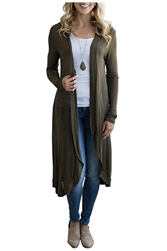 Knee Cardigan Length (Kumer Womens Long Sleeve Open Front Cardigan Solid Color Long Cover up Outwear Coat)