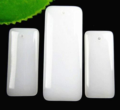 FidgetKute Wholesale 3pcs Beautiful Natural Rectangle White Jade Pendant Bead BC4573 Show One Size