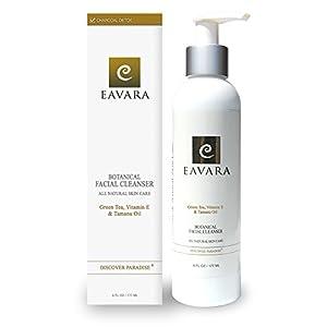Award Winning Organic Anti Aging Daily Facial Cleanser | Eavara All Natural Exfoliating Face Wash | Gentle For Sensitive Skin | Moisturizing | Hydrating | Organic Tamanu Oil | Vitamin E | Coconut Oil