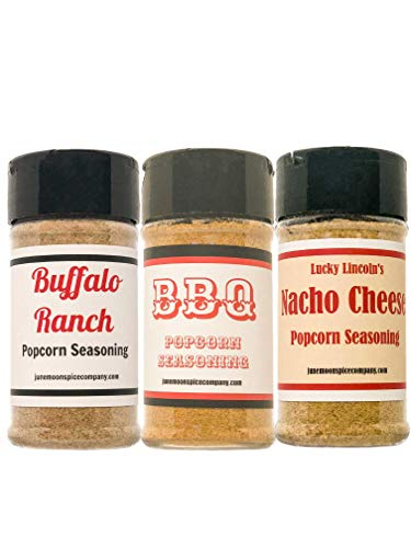 Premium Popcorn Variety or Gift Pack - Nacho Cheese, Buffalo Ranch & BBQ Popcorn Seasonings (3 Count)