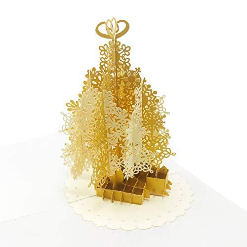 Tarjeta de felicitación con diseño de árbol de Navidad dorado, papel metálico en relieve de estilo único, hecho a mano,...