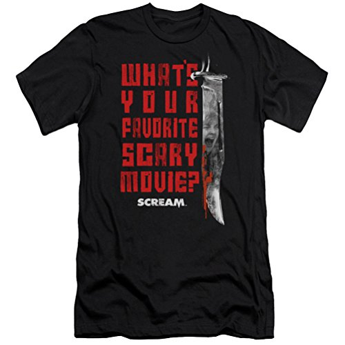Scream What's Your Favorite Scary Movie Slim Fit T-shirt, Black, Large]()